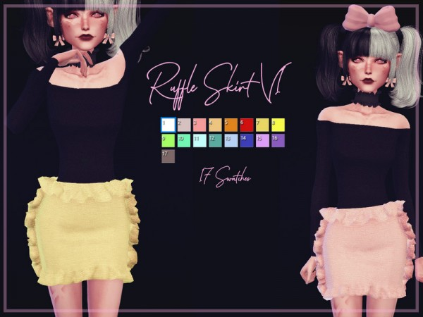 The Sims Resource: Ruffle Skirt V1 by Reevaly