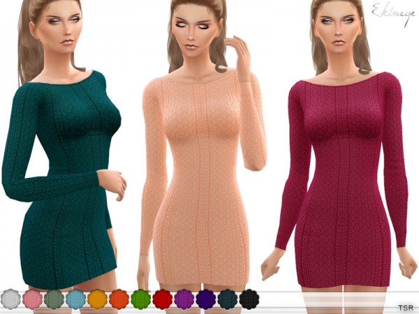 The Sims Resource: Boat Neck Knitted Dress by ekinege