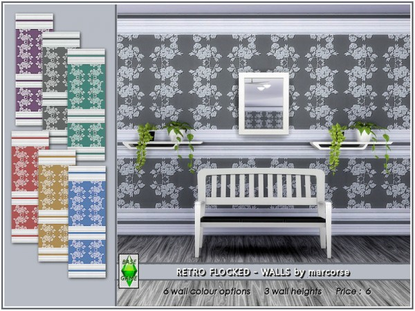 The Sims Resource: Retro Flocked Walls by marcorse