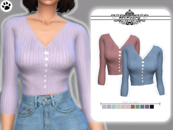 The Sims Resource: Rib Nit Button Shirt by MsBeary