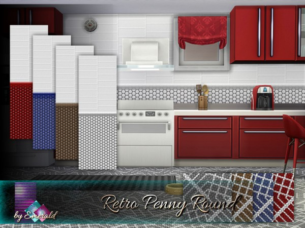 The Sims Resource: Retro Penny Round Walls by emerald