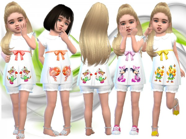 The Sims Resource: White applique dress by TrudieOpp
