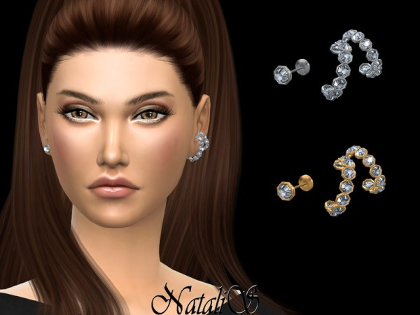The Sims Resource: Double crystal ear cuff by NataliS