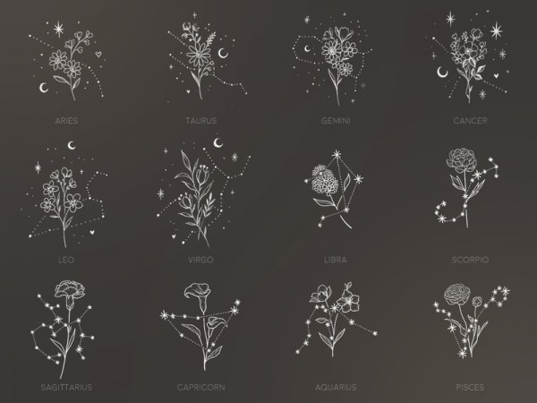 The Sims Resource: Floral Constellations tattoos by sugar owl