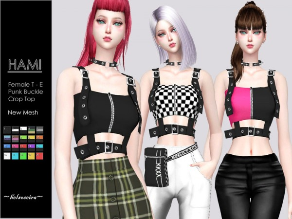 The Sims Resource: HAMI   Punk Buckle Top by Helsoseira