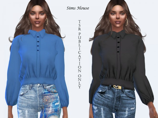 The Sims Resource: Womens blouse with a long sleeve without print by Sims House