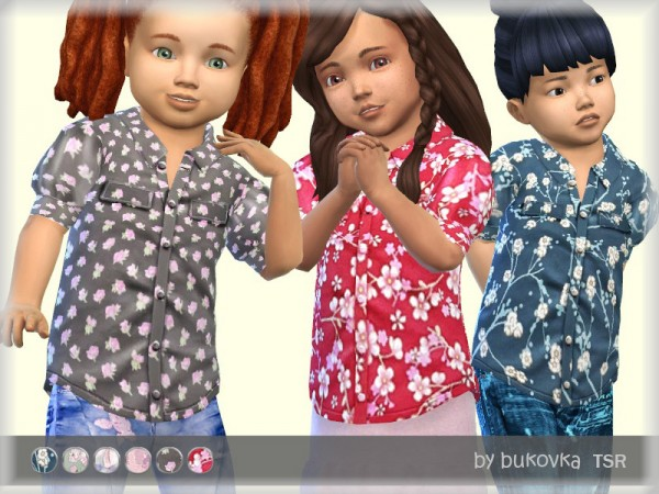 The Sims Resource: Flower Blouse by bukovka