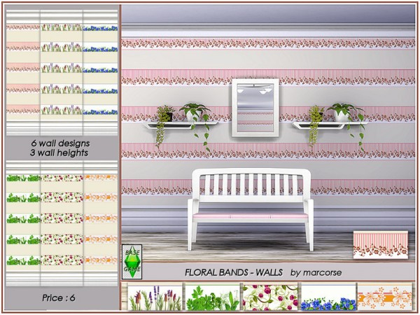 The Sims Resource: Floral Bands   Walls by marcorse