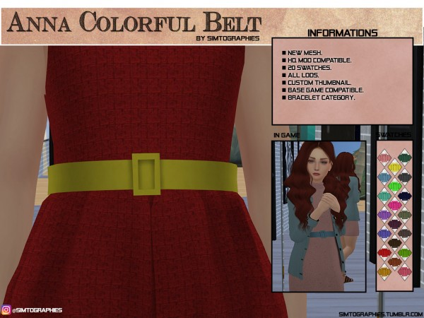 Simtographies: Anna Colorful Belt