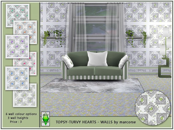 The Sims Resource: Topsy Turvy Hearts  Walls by marcorse