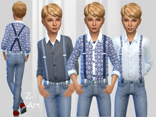 The Sims Resource: BoyZ. 01 outfit with suspenders by Zuckerschnute20