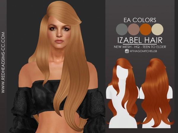 Red Head Sims: Izabel Hairstyle