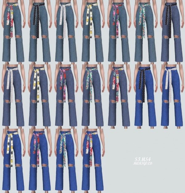 SIMS4 Marigold: Scarf Ribbon Destroyed Jeans