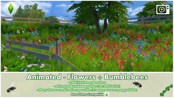 Mod The Sims: Animated   Flowers and Bumblebees by Bakie