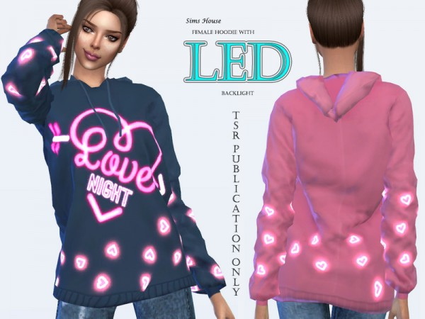 The Sims Resource: Hoodie with LED Heart by Sims House