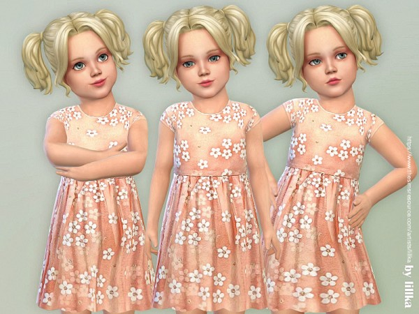 The Sims Resource: Flower Dress for Toddler Girls by lillka