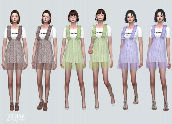 SIMS4 Marigold: Spring Chiffon Suspender Frill Mini Dress Dot V