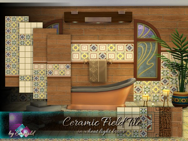 The Sims Resource: Ceramic Field Tile in wheat light brown by emerald