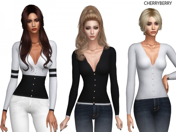 The Sims Resource: V Cut Classy Sweater by CherryBerrySim