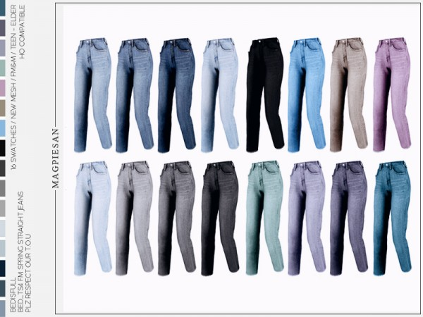 The Sims Resource: Spring straight jeans by magpiesan