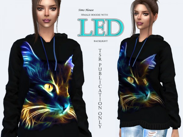 The Sims Resource: Hoodie with LED backlight Neon cat by Sims House