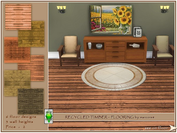 The Sims Resource: Recycled Timber  Flooring by marcorse