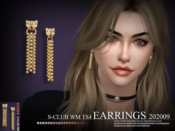 The Sims Resource: Earrings 202009 by S Club
