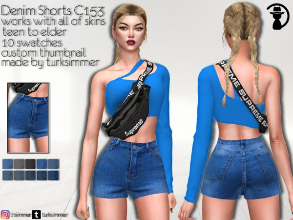 The Sims Resource: Denim Shorts C153 by turksimmer