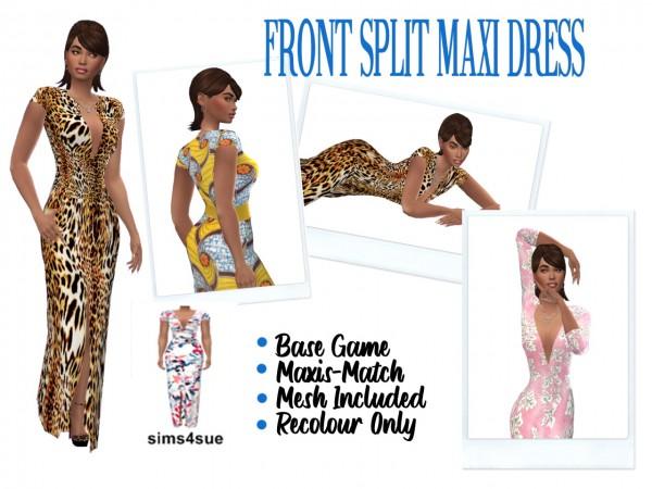 Sims 4 Sue: Front Slit Maxi Dress