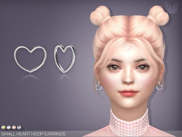 The Sims Resource: Small Heart Hoop Earrings by feyona