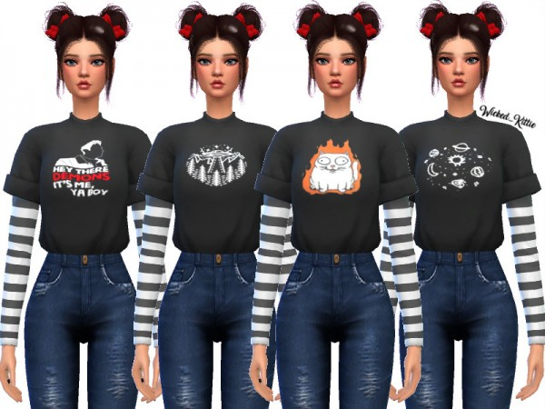 The Sims Resource: Kassi Layered Tee Shirts by Wicked Kittie