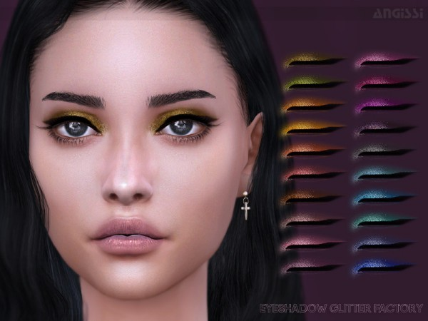 The Sims Resource: Eyeshadow Glitter factory by ANGISSI