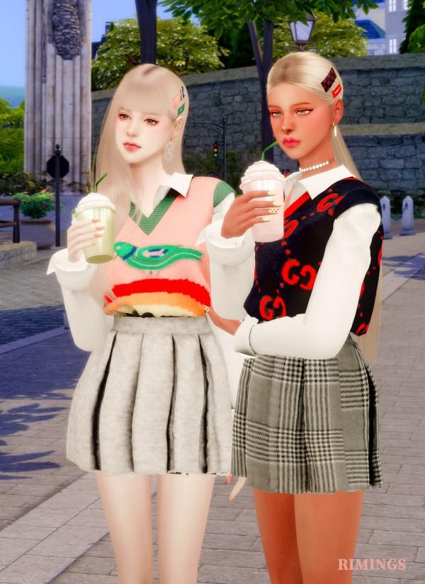 Rimings: Spring Knit Vest and Pleats Skirt