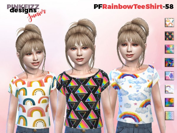 The Sims Resource: Rainbow Tee Shirt   PF58 by Pinkfizzzzz