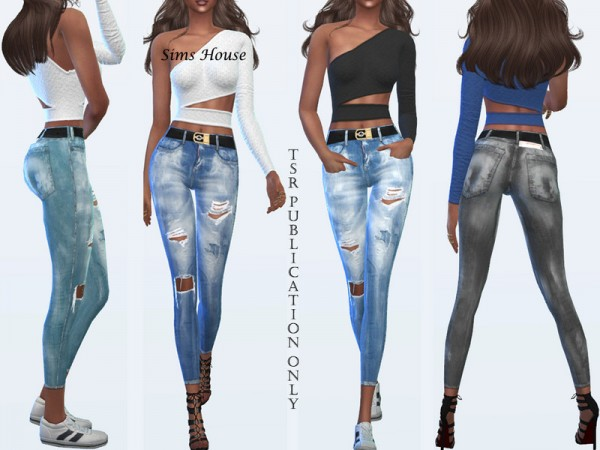 The Sims Resource: Womens ripped jeans 7.8 by Sims House