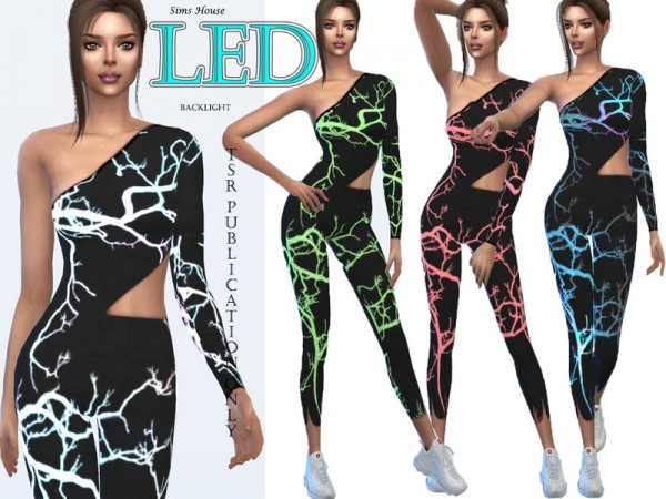 The Sims Resource: Womens suit for fitness LED backlight by Sims House