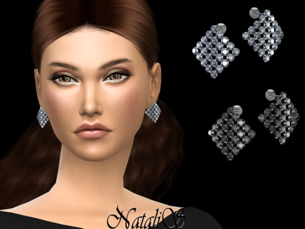 The Sims Resource: Curved square crystal earrings by NataliS