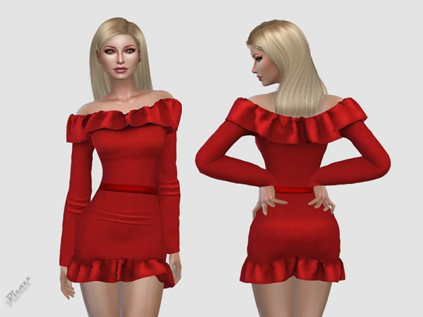 The Sims Resource: Off Shoulder Dress by pizazz