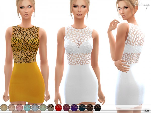 The Sims Resource: Leopard Print Dress by ekinege