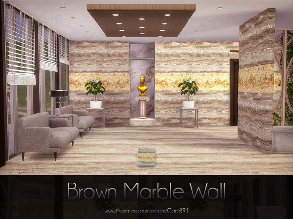 The Sims Resource: Brown Marble Wall by Caroll91