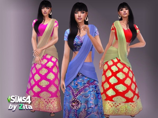 The Sims Resource: Sari Dress by ZitaRossouw