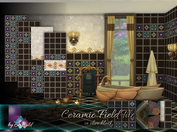 The Sims Resource: Ceramic Field Tile in olive black by emerald