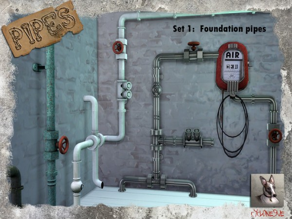 The Sims Resource: Pipes Set 1: Foundation Pipes by Cyclonesue