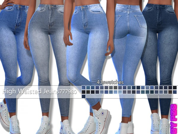 The Sims Resource: High Waisted Denim Jeans 777980 by Pinkzombiecupcakes