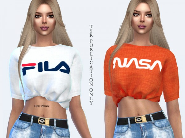 The Sims Resource: Womens short logo print T shirt by Sims House