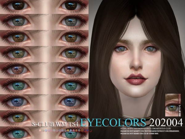 The Sims Resource: WM Eyecolors 202004 by S Club