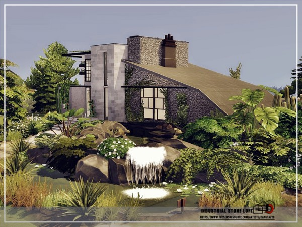 The Sims Resource: Industrial stone Loft by Danuta720