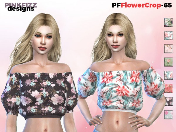 The Sims Resource: Flower Crop Top by Pinkfizzzzz