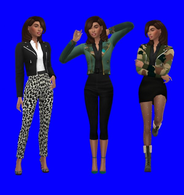 Sims 4 Sue: Leather Jacket and Shirt