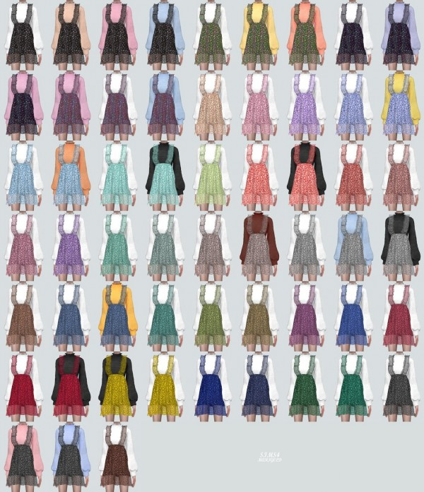 SIMS4 Marigold: Spring Chiffon Frill Mini Dress V2